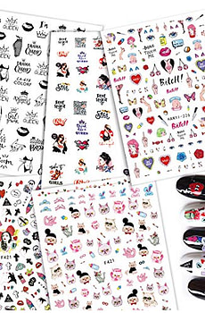 5 Sheets Nail Decal for Girls Nail Art 3D Hand Painted Sex Illustration Unique Nail Stickers Japanese Flowers Butterfly