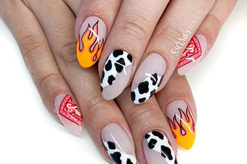 Hand painted nail art. How fun are these?! That bandana corner!!