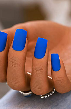 Woeoe Matte Square Press on Nails Blue Long A...