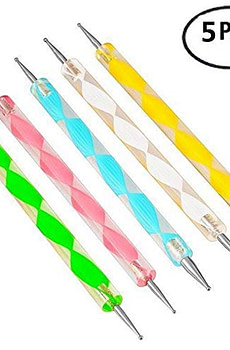JSDOIN 5 pc 2 Way Dotting Pen Tool Nail Art Tip Dot Paint Manicure kit
