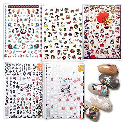 5 Sheets Japenese Nail Art Stickers Adhesive Nail Decal of Ancient Japan Decorations Hand Painted Nail Foils Ninja Comic
