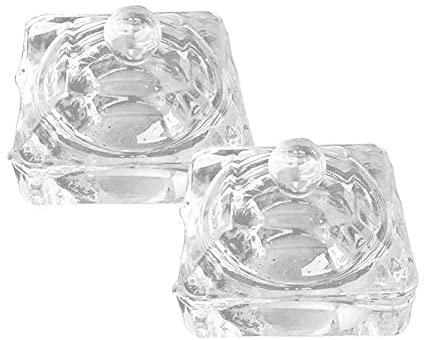 GSHLLO 2 Pcs Nail Art Glass Acrylic Dappen Dish Liquid Powder Crystal Cup Glassware Tools with Lid D