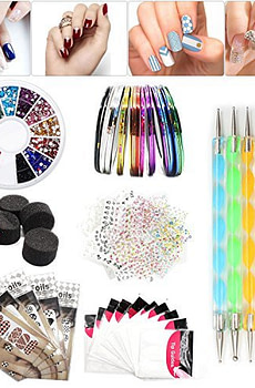 Nail-Art-Set-Tape-Line-Nail-Stickers-Colored-Rhinestones-Decoration