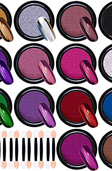 Duufin 14 Jars Chrome Nail Powder Metallic Nail Art Powder Mirror Effect Manicure Pigment 14 Colors Nail Powders with 14 Pcs Eyeshadow Sticks, 1g/Jar