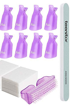 Teenitor Nail Polish Gel Remover Tools Kit with Nail Clips Nail Remover Pads Cuticle Pusher Nail Brushes Nail File Grits 120/180 Buffer Block Grits 400/4000, 6 Pack