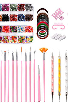 43PCS Nail Art Kit,Professional 3D Nail Art Supplies with Glitter Nail Rhinestones,Nail Art Brushes,Nail Dotting Pen,Nail Striping Tapes,Nail Polishing,DIY Tools Set For Girls Nail Decoration Manicure